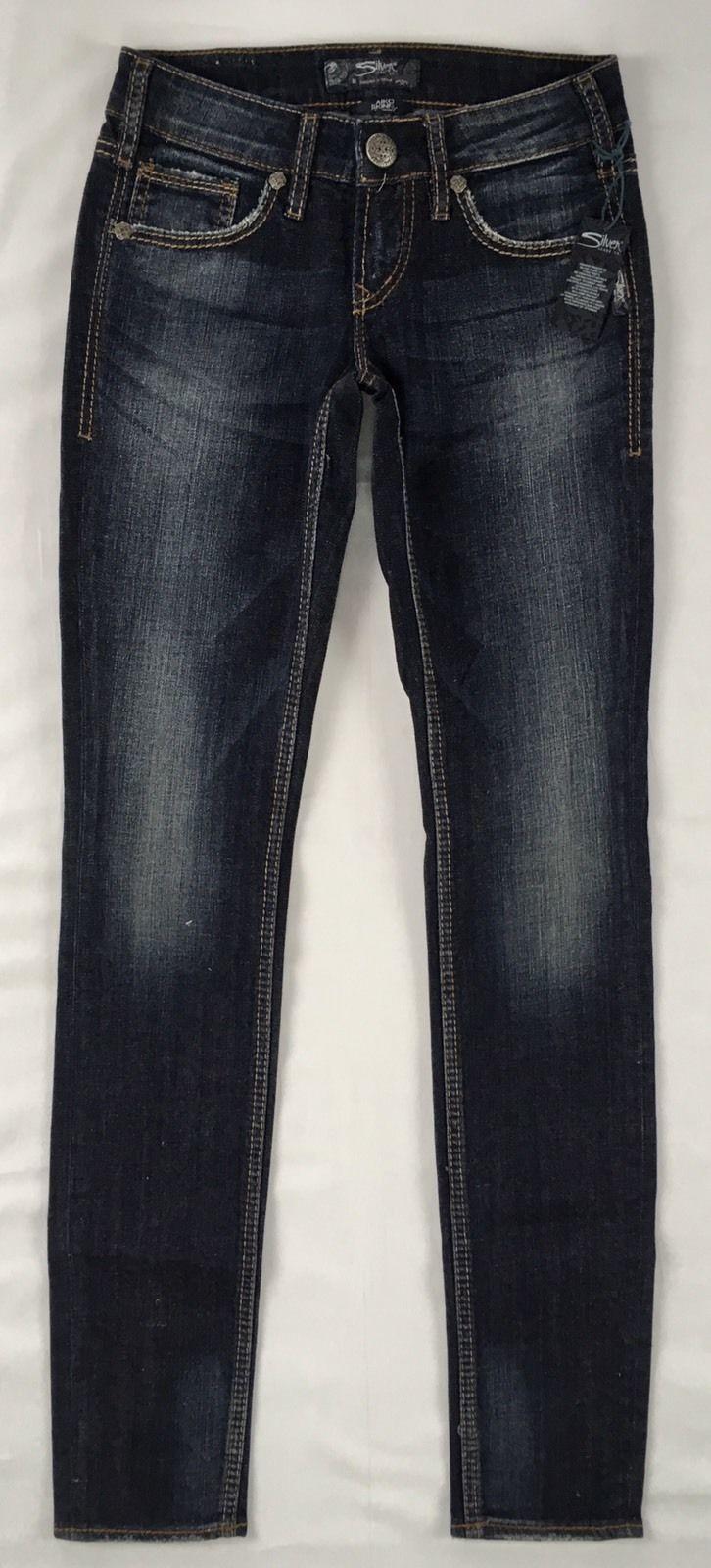 6ce0f14f New SILVER Jeans Sale Buckle Mid Rise Aiko Dark Skinny Stretch Jean 24 X 31