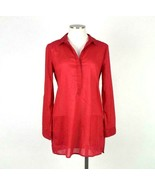 Chico's Red Cotton Blouse Button Down Shirt V Neck Collar Tunic Top Wome... - $14.84