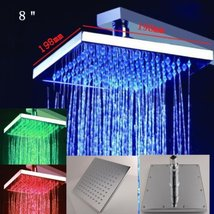 Cascada 8 Inch Square Multi Color LED Rain Shower Head, Polished Chrome Finish - $148.45