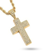 20K Gold Plated Hiphop Cross Pendant Necklace, High Fashion Iced Out Cr... - $34.72