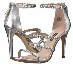 Nine West Vandison Dress Sandals Sz 9 Womens Silver Strappy High Heel Shoes - $36.00