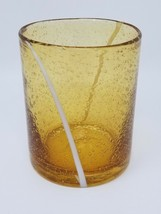 Vintage 1960s Modern Cream Amber Bubble Drinking Glass - $14.80