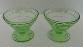 Block Optic Sherbets Green Depression Glass Cone Shaped Dessert Dishes T... - $16.71