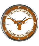 University of Texas Longhorns 12 Inch Round Chrome Orange Wall Clock Aus... - $33.33