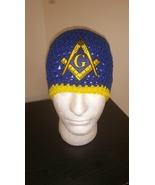 Masonic Handmade Crochet Beanie/Blue & Yellow - $22.00