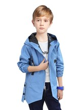 Boy's Trench Coat Solid Color Long Sleeve Hooded Outwear - $37.99