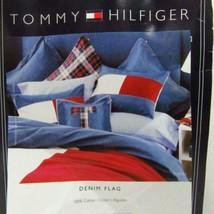 Tommy Hilfiger Denim Flag Red White and Blue Patchwork Standard Sham - $43.00