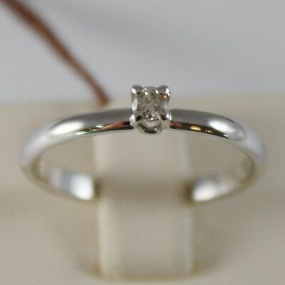 18K WHITE GOLD SOLITAIRE WEDDING BAND CASTLE RING DIAMOND 0.07 MADE IN ITALY