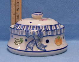 Small Tureen Vegetable Print Cobalt Blue & White Ceramic Bowl Dish With Lid - ₨428.82 INR