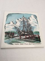 Trivet Ceramic Accent Tile Whale ship Charles W. Morgan Seaport Connecticut - $10.45