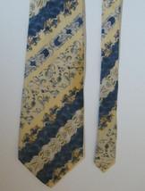 Men's Yellow & Blue Country Floral Pattern  BILL BLASS 100% Silk Necktie - $5.99