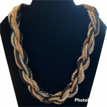 Woven Snake-like Braided Necklace Mixed Metals Chunky Mod 1980's Vintage  - $17.81