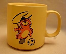 Tiger and Soccer Ball Coffee Cup Mug Seoul Korea 1988 Olympics 3 1/2 inc... - $13.85