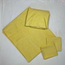 Vtg Twin Flat Fitted Sheet 2x Pillowcase Set 70s Yellow Bedding Unbrande... - $35.60