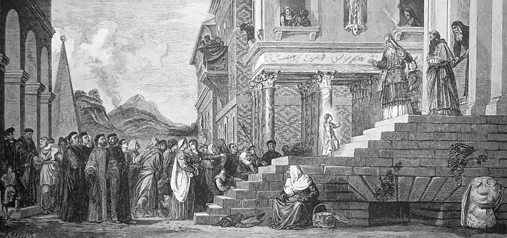 ITALIAN ART Presentation of Virgin in Temple by Titian - 1888 Original Print