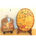 Vintage Plaques Kitchen Oval Apple Butter Recipe Signed & Bread Shaped 3... - $1.29