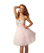 Posh Romantic Sexy Strapless Short Beaded Evening Gown/Prom Dress, Pink ... - €208,92 EUR