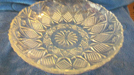 VINTAGE CRYSTAL ROUND SERVING BOWL, DIAMOND AND FLOWERS, SCALLOPED EDGES - $222.74