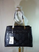 NWT Tory Burch Black Fleming Triple Compartment Shoulder Tote image 4