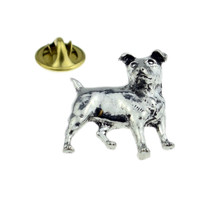 silver plated Jack Russell with clip on rear Pin ,Badge / tie pin unisex gift