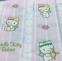 Sanrio Vintage Angel Kitty Pink Fabric 1.6Yard Cotton Pink Cute Rare  - $42.06