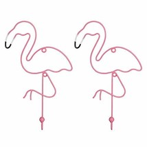 PINE AND PAINT LLC Flamingo Wall Hooks Set of Two Colorful Coat Hook Jewelry Han