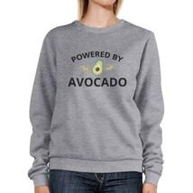 Powered By Avocado Grey Pullover Sweatshirt Unique Design Fleece - $20.99+