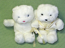 1985 Commonwealth WEDDING BEARS Bride Groom Plush Stuffed Vintage Animal... - $32.73