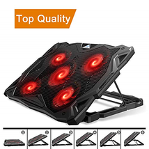 Pccooler Laptop Cooling Pad, Laptop Cooler with 5 Quiet Red LED Fans for... - €24,57 EUR