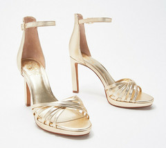 Vince Camuto Ankle Strap Heeled Sandals- Beresta Gold 9 M - $75.23