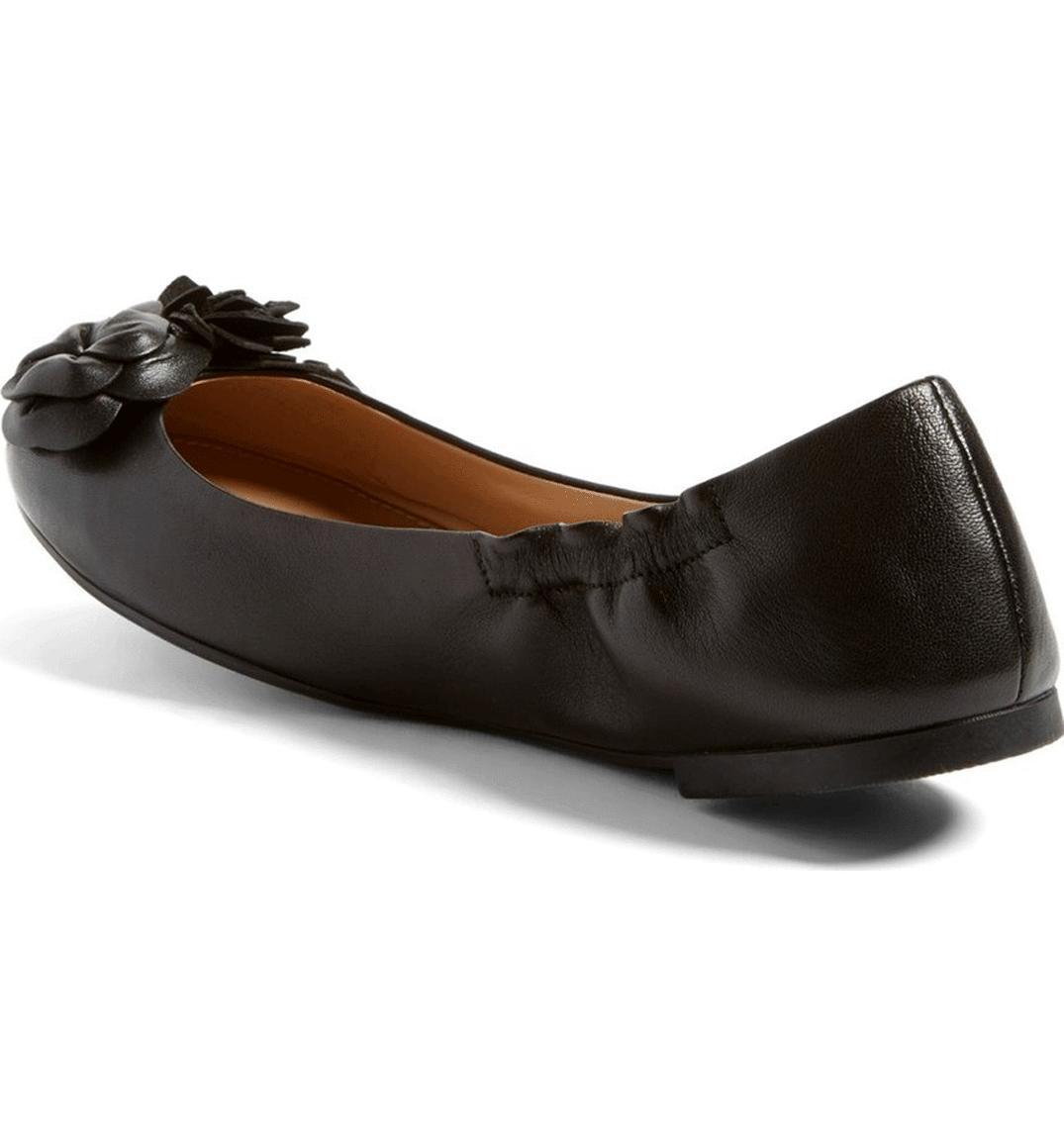 fe0cff09f008 Tory Burch Blossom Ballerina Flats Black Leather Ballet Shoe Flower 7.5 Reva
