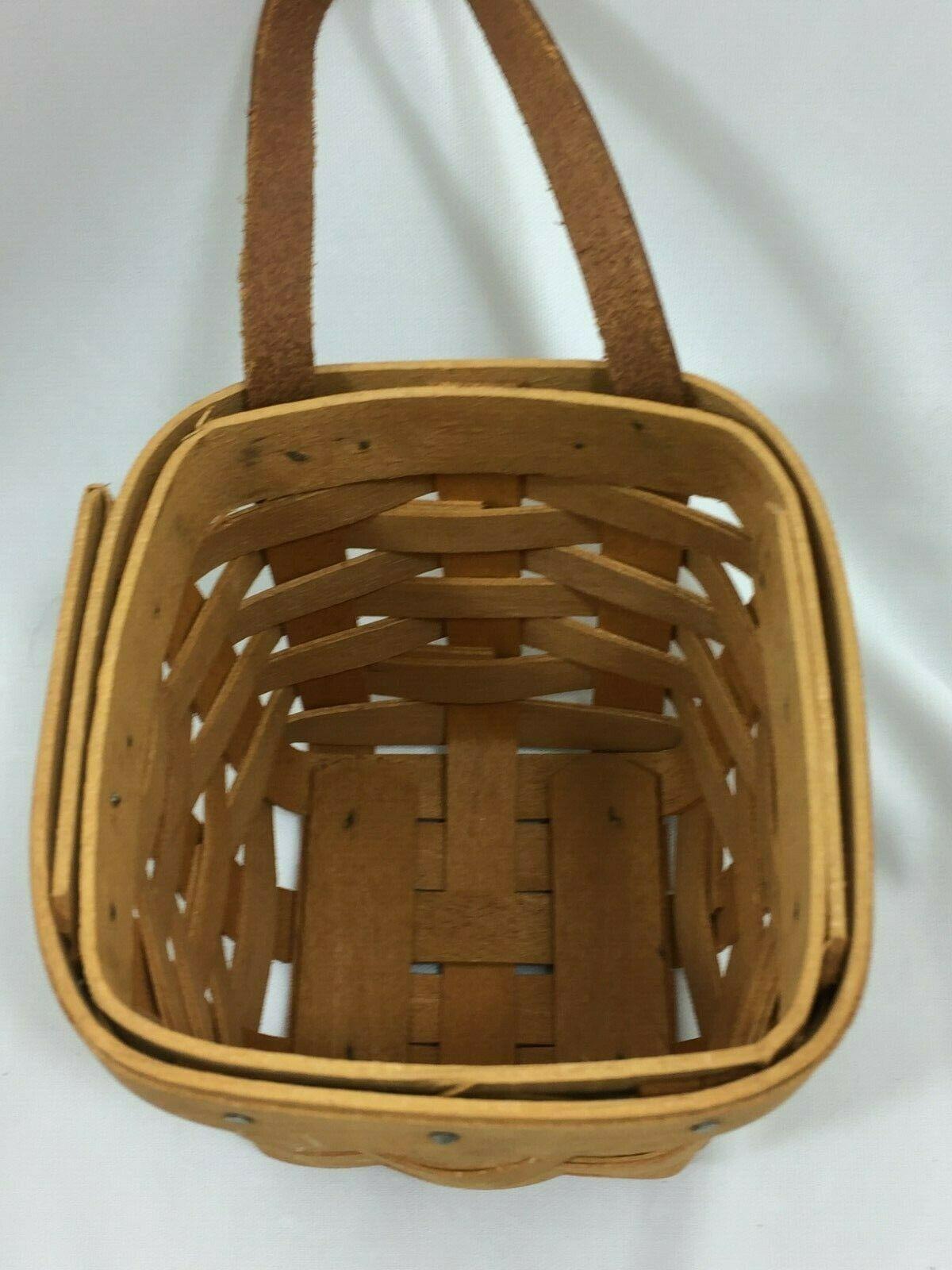 LONGABERGER Small Key Basket Vintage 1998 w/ Leather 26412