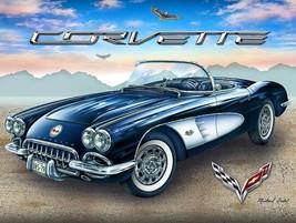 1958 Corvette in the Desert by Michael Fishel Metal Sign - $29.95