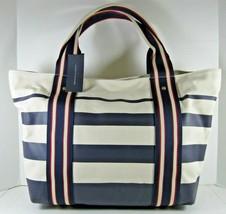 Tommy Hilfiger Blue Ivory NWT $118 Extra Large Tote Shopper Bag Stripe C... - $68.31