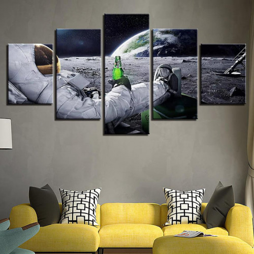 Framed 5 Piece Man Cave Space Canvas Print Painting Wall