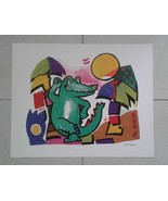 Authentic Alfred Gockel Colorful Crocodile 1980's Avant Art Print Germany - $50.00