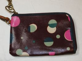 Fossil Wristlet zip around wallet card id coin Wine with Dots Pre-owned *^ image 3