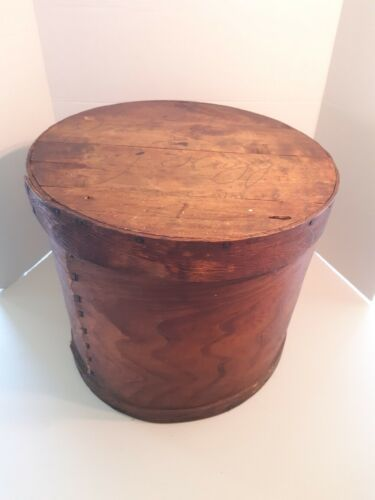 "Large Antique Vintage Round Wooden Box - 15"" x 12.5"" Container Sewing Pantry"