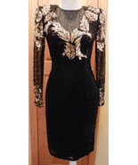 Vintage Niteline Black Gold Silver Sequin 100% Silk Dress Size 4 Cocktai... - $96.86