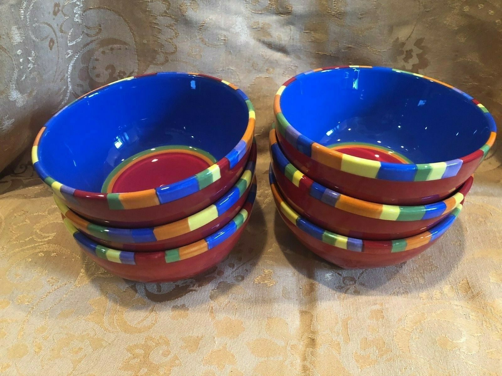 Dansk Caribe Antigua Stripe - 6 Soup Cereal Bowls - Blue, Red & Orange  - EUC! - $37.55