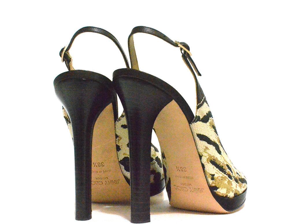 Jimmy Choo - Animal Print Sandals - Black - Size 38.5 EU