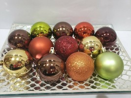 12 Thanksgiving Fall Harvest Orange Brown Ball Christmas Ornaments Decor... - $17.99