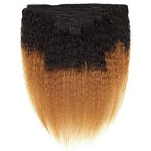 Feelgrace Kinky Straight Clip In Human Hair Extension Ombre 2 Tone 1B/Brown Colo image 4