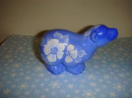 Fenton Hand Painted Periwinkle Blue Floral Polar Bear Figurine QVC - $43.99