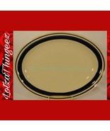 "Yamaka Chateau Plate Serving Platter 12.75"" Oval Colbalt Blue Band - $29.69"