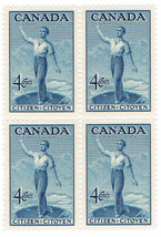 1947 Citizen of Canada Block of 4 Postage Stamps Catalog Number 275 MNH