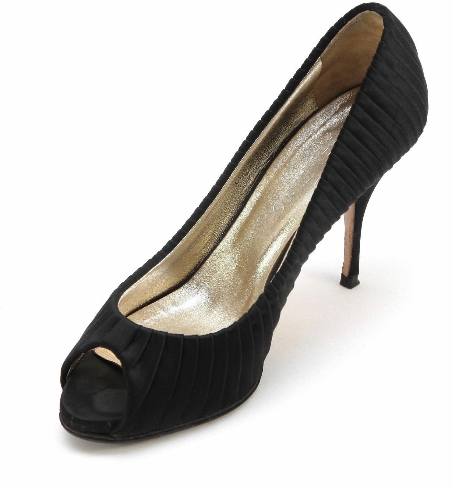 VALENTINO Black Satin Pump Platform Peep Toe Gold Leather Lining 37