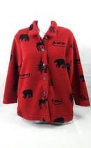 Coldwater Creek women Sweater Red Animal print Buttom up SizeM Bin25#6 - $13.10