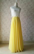 YELLOW High Waist Chiffon Skirt Wedding Chiffon Skirt Yellow Bridesmaids Outfit image 4