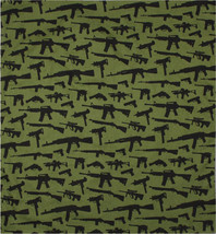 "Olive Drab & Black Gun Rifles All Over Print Design Cotton Bandana 22"" x... - $7.99"